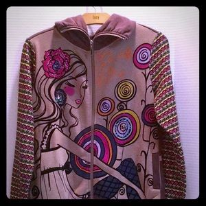 ADORE Zip Up Multicolor graphic Girl Embellished L
